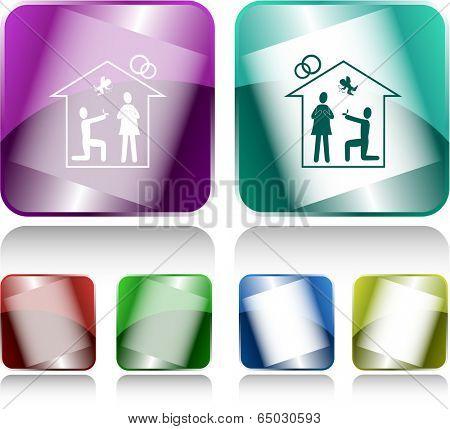 Home affiance. Internet buttons. Raster illustration.