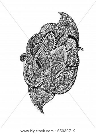 Hand Drawing, Graphic Picture Floral Ornaments.