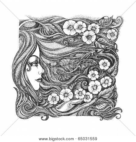Abstract Graphic Picture On The Theme Girls, Flowers, Floral Ornaments.