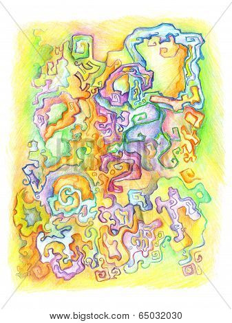 Abstract Background, Drawing With Crayons.