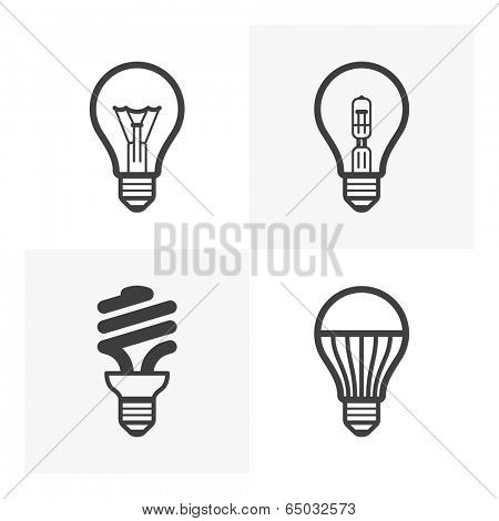 Various light bulb icons. Standard and halogen incandescent, fluorescent and LED bulb. Vector.