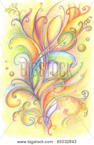 Abstract Background With Handwritten Painted Flowers And Floral Ornaments.