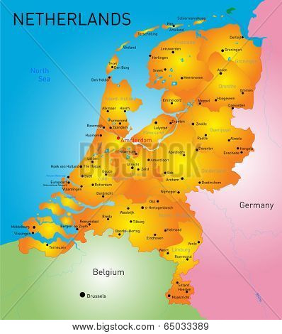 vector color map of Netherlands country