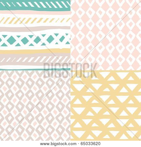 Seamless basic pastel geometric quirky hand drawn background pattern in vector