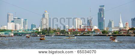 Panoramic view of Bangkok downtown from Chao Phraya river