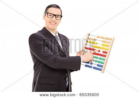Businessman moving the units of an abacus isolated on white background