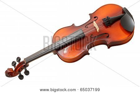 Traditional Wooden Fiddle Isolated On White