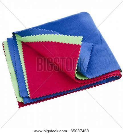 Collection set of colorful soft cleaning cloth for optics isolated on white background