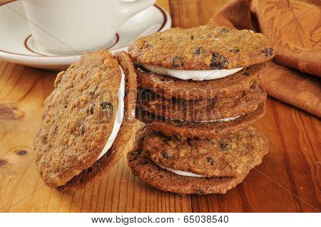 Cream Filled Oatmeal Molasses Cookies