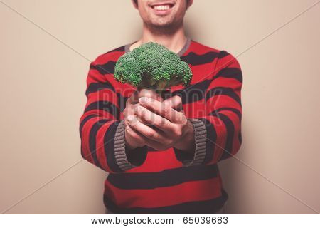 Young Man With Broccoli