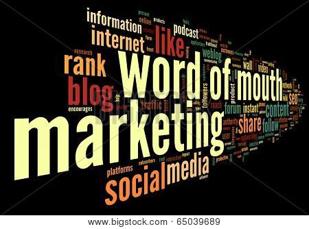 Word of mouth in social media in word tag cloud on black background