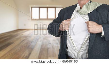 Businessman Showing Shirt  Against Clock