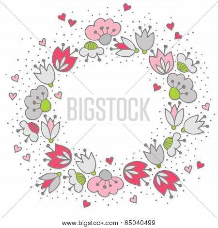 Messy different colorful pink gray flowers and hearts in round wreath on white