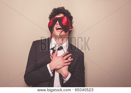 Businessman With A Bra On His Face
