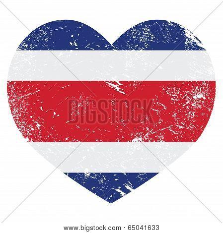 Costa Rica retro heart shaped flag