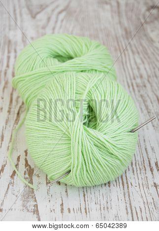 Green Yarns And Crotchet Hook