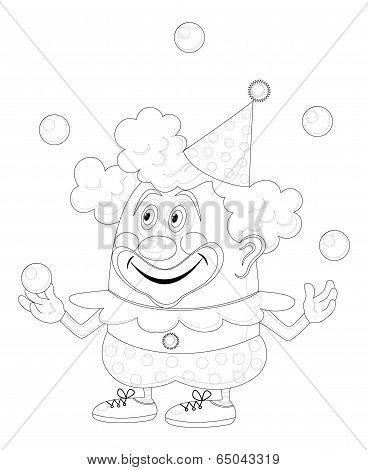 Circus clown juggling balls, contour