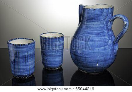 Oil and vinegar set, blue, pottery