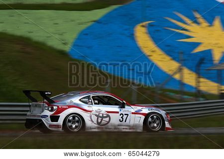 SEPANG, MALAYSIA - MAY 10, 2014: The Toyota 86 car of Manat Kulapalanont takes to the track at the Thailand Super 2000 race of the Thailand Super Series Rd 1 in Sepang International Circuit.