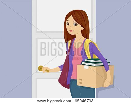 Illustration of a Girl Bringing Her Belongings in the Dorm