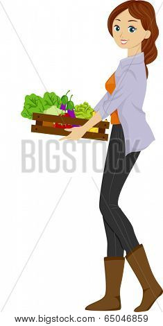 Illustration of a Girl Carrying a Wooden Tray of Organic Produce