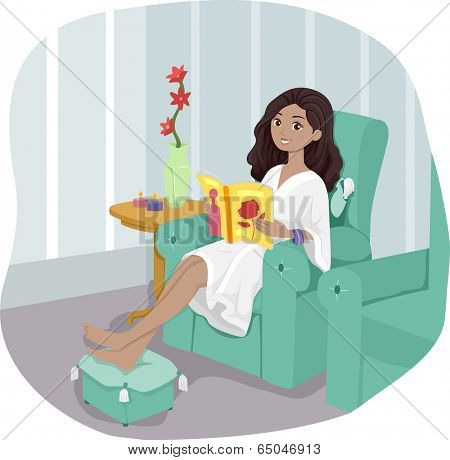 Illustration of a Girl at a Spa Waiting for Her Turn to be Pampered