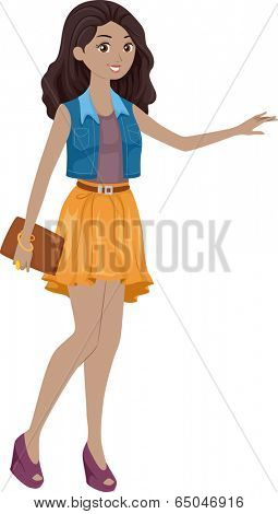 Illustration Featuring a Stylish Girl Hailing a Cab