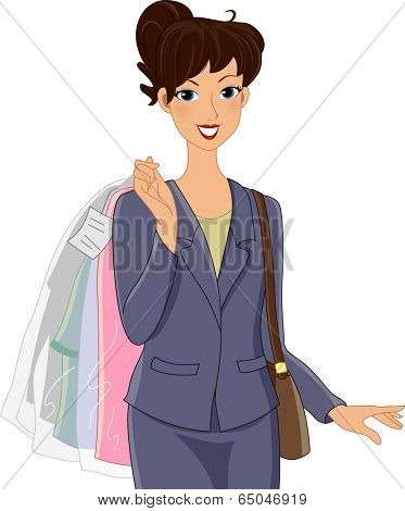Illustration of a Girl in an Office Attire Carrying Clothes She Picked Up from the Dry Cleaners