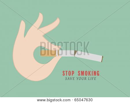 Poster, banner or flyer design for World No Tobacco Day with illustration of breaking cigarette by human hand and stylish text stop smoking on green background.