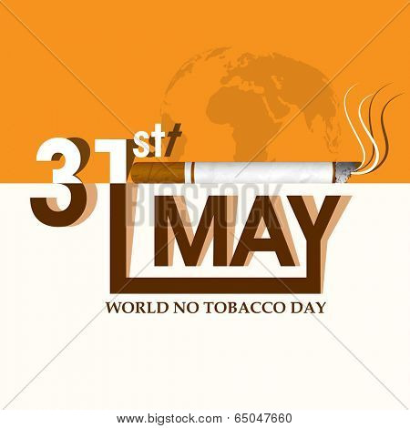 Poster, banner or flyer design for World No Tobacco Day with stylish text in white and brown colour, burning cigarette on yellow background.