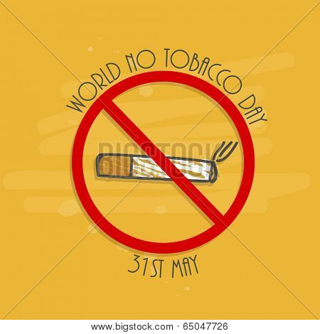 Anti Smoking concept with cigarette and stylish text on yellow background for World No Tobacco Day concept.