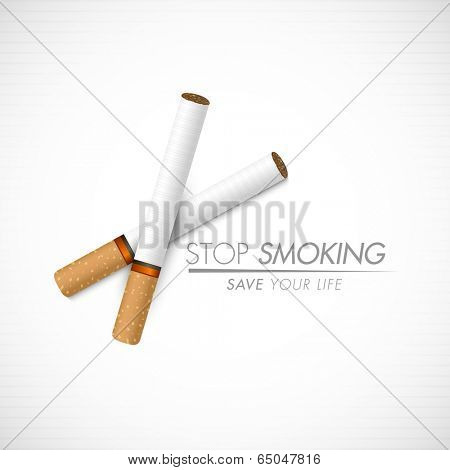 Poster, banner or flyer design for World No Tobacco Day with cigarettes and stylish text Stop Smoking on grey background.