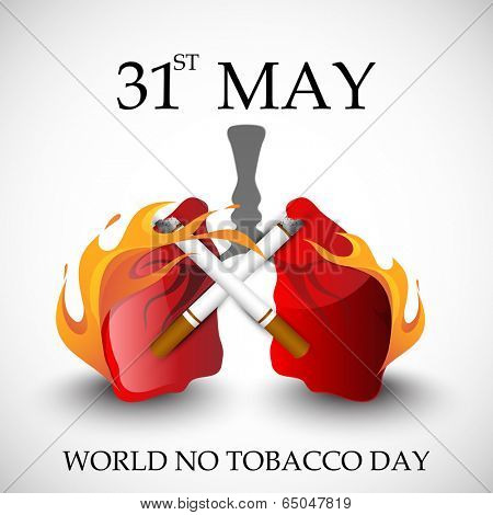 Poster, banner or flyer design for World No Tobacco Day with human lungs in fire and cigarette on grey background.