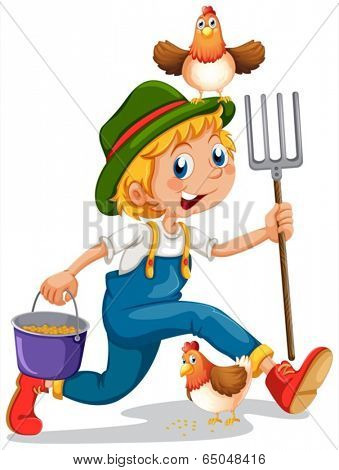 Illustration of a boy running with a pail of feeds and a rake on a white background