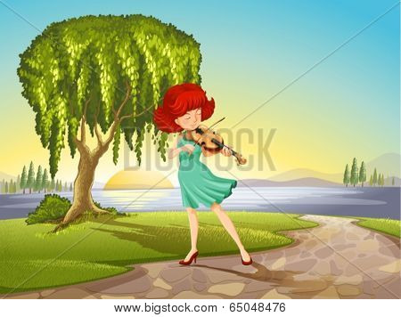 Illustration of a talented girl with a violin