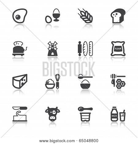 Dairy Egg Bread Sugar Flat Icons With Reflection