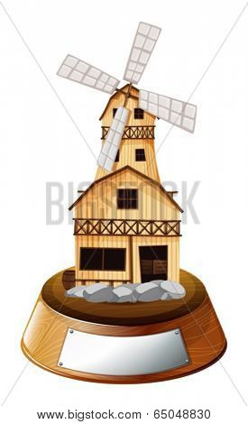 Illustration of a trophy stand with a wooden house on a white background