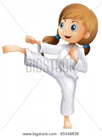 Illustration of an energetic young woman doing karate on a white background