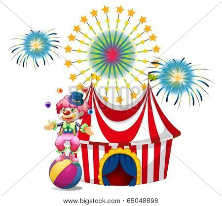 Illustration of a carnival with a clown juggling on a white background