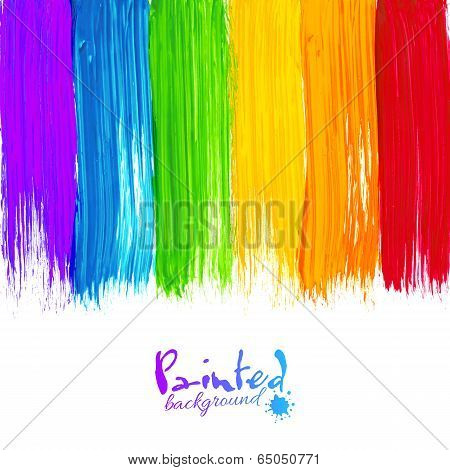 Acrylic painted stripes, vector background poster