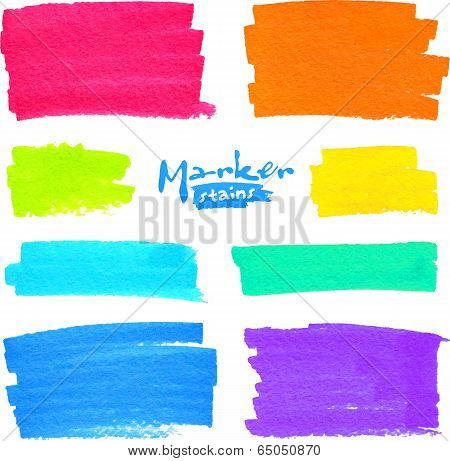 Colorful vector marker stains set