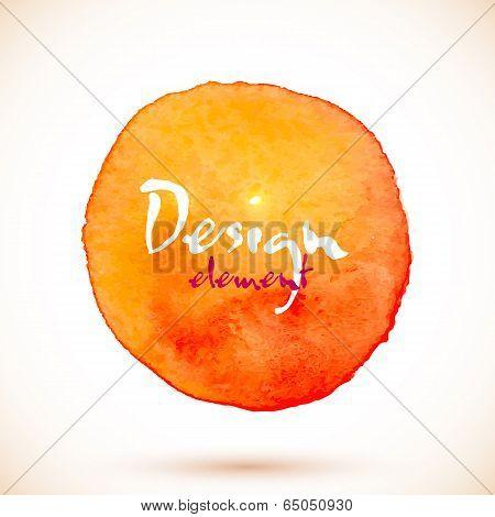 Orange watercolor circle, vector design element