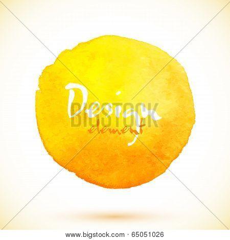 Yellow watercolor circle, vector design element