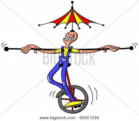 Circus man keeping balance while riding an unycicle