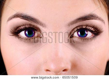 Beautiful colorful eyes close up