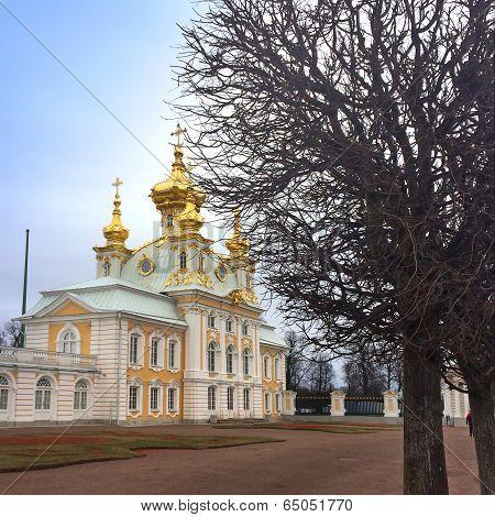 Russia Petrodvorets. Cityscape in a sunny day