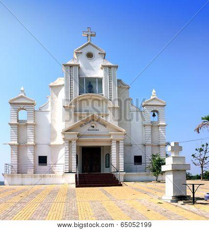 India. Goa. Catholic church at hill top