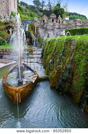 Villa d`Este fountain and garden Tivoli Italy.