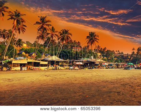 India. Goa. Beach on a sunset