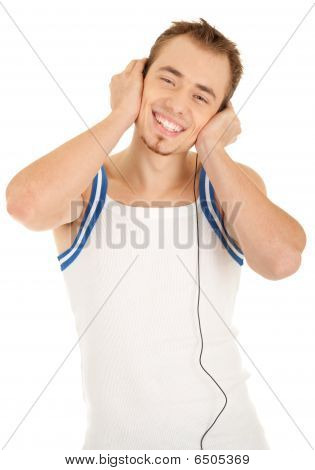 Smiling Handsom Man Is Listening Music